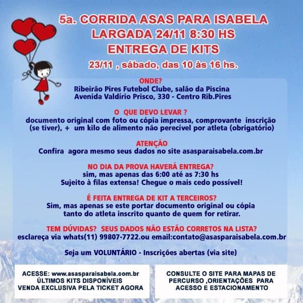 Entregas dos kits dia 23/11 a partir das 10 horas, no Ribeirão Pires FC. Não esqueça de trazer 1kg de alimento NÃO PERECÍVEL
